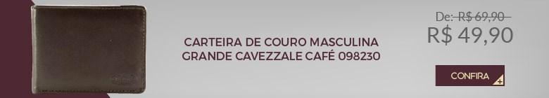CARTEIRA DE COURO MASCULINA GRANDE CAVEZZALE CAFÉ 098230