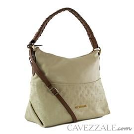 Bolsa Boho de Couro Feminina Cavezzale Monograma Vanilla 102569