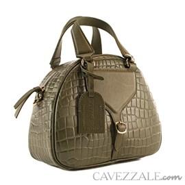 Bolsa Bowing de Couro Croco Feminina Cavezzale Army 101976