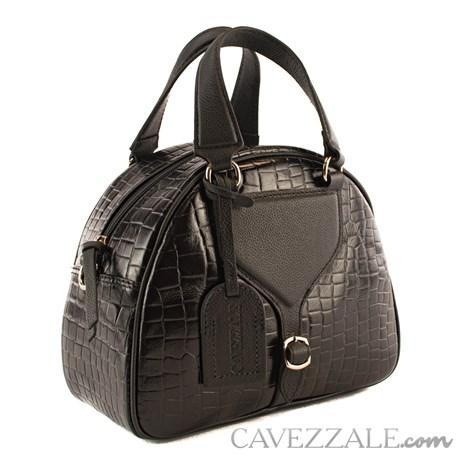 Bolsa Bowing de Couro Croco Feminina Cavezzale Preto 101976