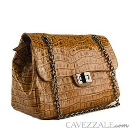 Bolsa Bowing de Couro Feminina Cavezzale Correntes Amazon Havana 102004
