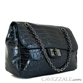 Bolsa Bowing de Couro Feminina Cavezzale Correntes Amazon Preto 102004