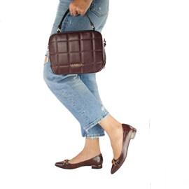 Bolsa Bowing de Couro Tiracolo Feminina Cavezzale Bordo 102294