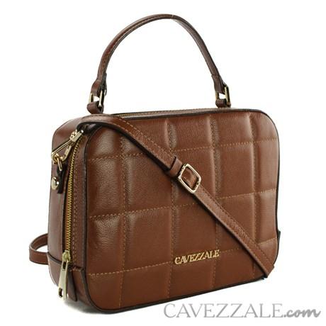 Bolsa Bowing de Couro Tiracolo Feminina Cavezzale Castor 102294