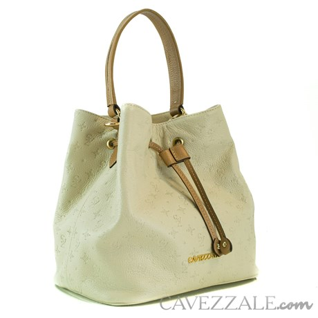 Bolsa Bucket de Couro Feminina Cavezzale Monograma Gelo 102145