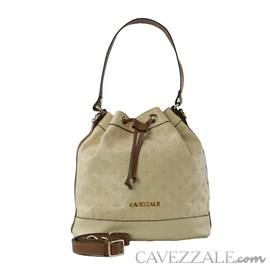 Bolsa Bucket de Couro Feminina Cavezzale Monograna Vanilla 102571