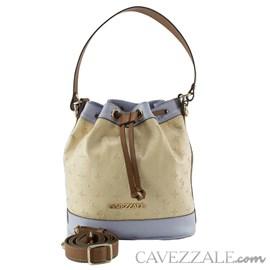 Bolsa Bucket de Couro Feminina Cavezzale Vanilla/lavanda 102586