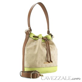 Bolsa Bucket de Couro Feminina Cavezzale Vanilla/lima 102586