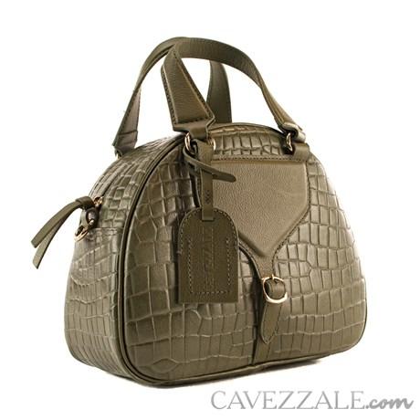Bolsa de Couro Croco Feminina Cavezzale Army 101976