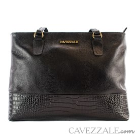Bolsa de Couro Croco Feminina Cavezzale Preto 101570