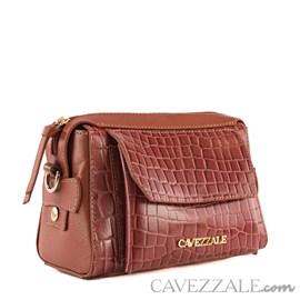 Bolsa de Couro Croco Feminina Cavezzale Telha 101986
