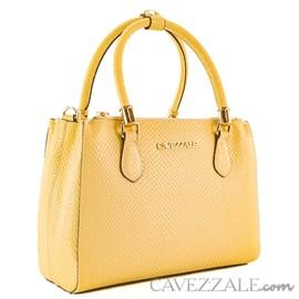 Bolsa de Couro Escamado Feminina Cavezzale Amarelo 101621