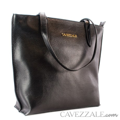 Bolsa Shopping Bag de Couro Feminina Cavezzale Preto 101571