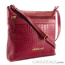 Bolsa Tiracolo de Couro Croco Feminina Cavezzale Scarlet 101567