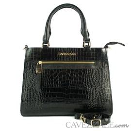 Bolsa Tote Bag de Couro Croco Feminina Cavezzale CVZ Preto 102352