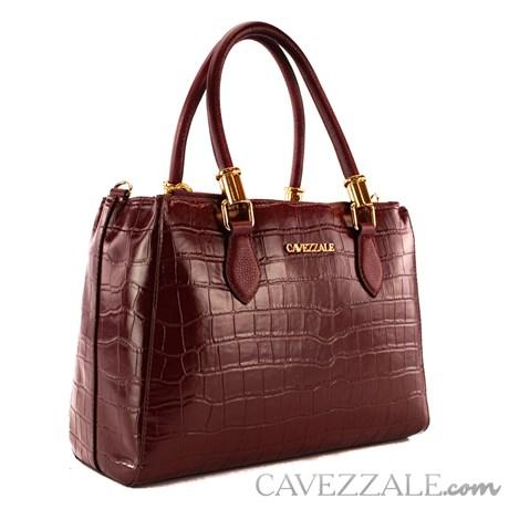 Bolsa Tote Bag de Couro Croco Feminina Cavezzale Marsala 101620