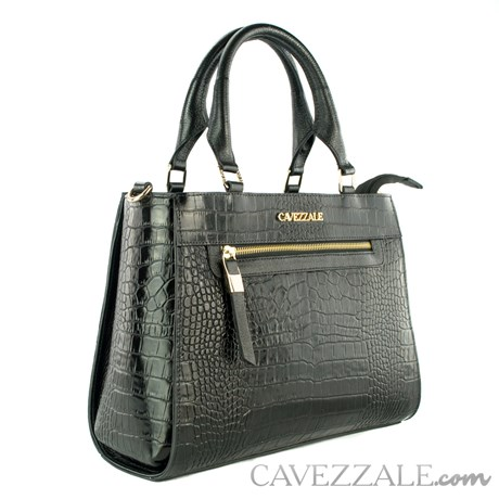 Bolsa Tote Bag de Couro Croco Feminina Cavezzale Preto 102352