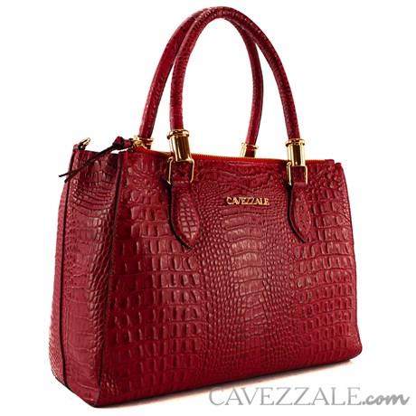 Bolsa Tote Bag de Couro Croco Feminina Cavezzale Vermelho 101620