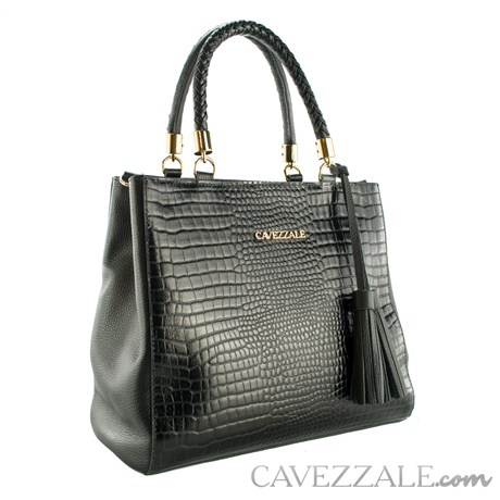 Bolsa Tote Bag de Couro Feminina Cavezzale Fargo/Soft Preto 102374