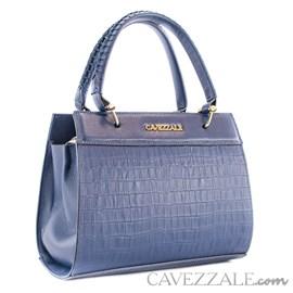 Bolsa Tote Bag de Couro Feminina Croco Cavezzale Marinho 0101506