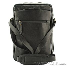 Bolsa Transversal de Couro Masculina Cavezzale Preto 053043