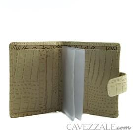 Carteira de Couro Croco Feminina Grande Cavezzale Bege 101592