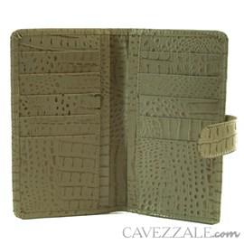Carteira de Couro Croco Feminina Grande Cavezzale Bege 101593