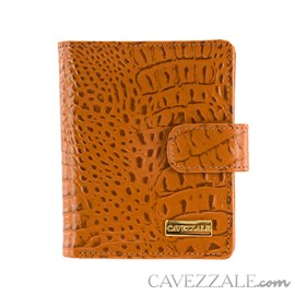 Carteira de Couro Croco Feminina Grande Cavezzale Caramelo 101592