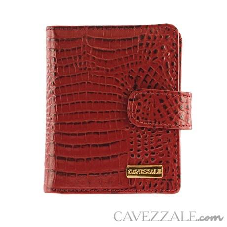 Carteira de Couro Croco Feminina Grande Cavezzale Vermelho 101592