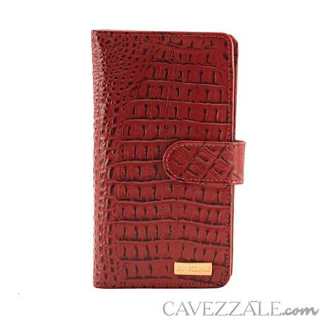 Carteira de Couro Croco Feminina Grande Cavezzale Vermelho 101593