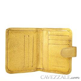 Carteira De Couro Feminina Grande Cavezzale Dourado 099033