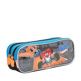 Estojo Escolar Hot Wheels 17z Preto-azul Poliéster 097502