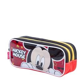 Estojo Escolar Mickey Mouse 17y Preto-vermelho Poliéster 097513