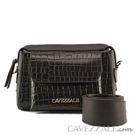 Mini Bag de Couro Croco Feminina Cavezzale Preto 101986