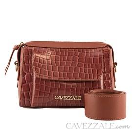 Mini Bag de Couro Croco Feminina Cavezzale Telha 101986