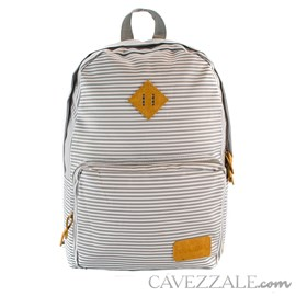 Mochila Escolar Cavezzale Branco e Cinza de Poliéster 101233