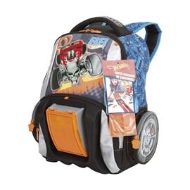 Mochila Escolar Hot Wheels 17z Grande Preto-azul Poliéster 097500