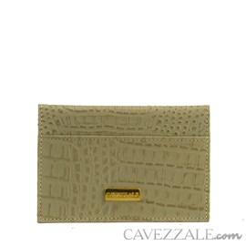 Porta Cartões de Couro Croco Cavezzale Bege 101597