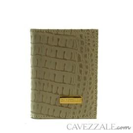 Porta Cartões de Couro Croco Cavezzale Bege 101762