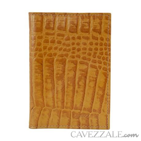 Porta Cartões de Couro Croco Cavezzale Caramelo 101130