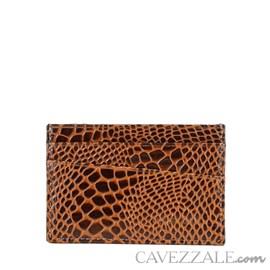 Porta Cartões de Couro Croco Cavezzale Caramelo 101562