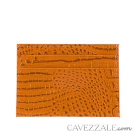 Porta Cartões de Couro Croco Cavezzale Caramelo 101595