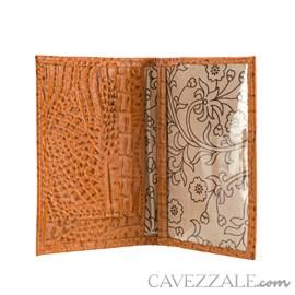 Porta Cartões de Couro Croco Cavezzale Caramelo 101597