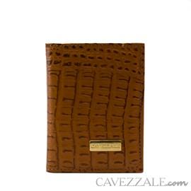 Porta Cartões de Couro Croco Cavezzale Caramelo 101762