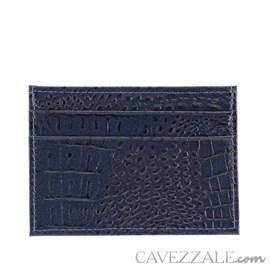 Porta Cartões de Couro Croco Cavezzale Marinho 101595