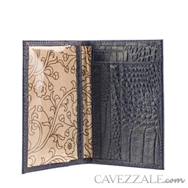 Porta Cartões de Couro Croco Cavezzale Marinho 101597