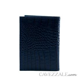 Porta Cartões de Couro Croco Cavezzale Marinho 101762