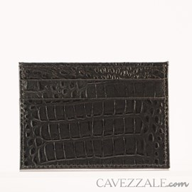 Porta Cartões de Couro Croco Cavezzale Preto 101595