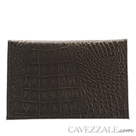 Porta Cartões de Couro Croco Cavezzale Preto 101597