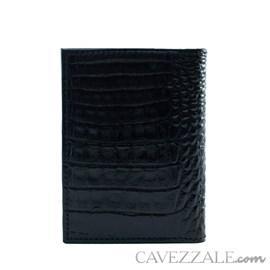 Porta Cartões de Couro Croco Cavezzale Preto 101762